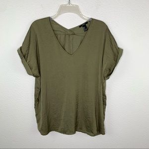 Forever 21 Olive Green Slouchy Silky Top F12